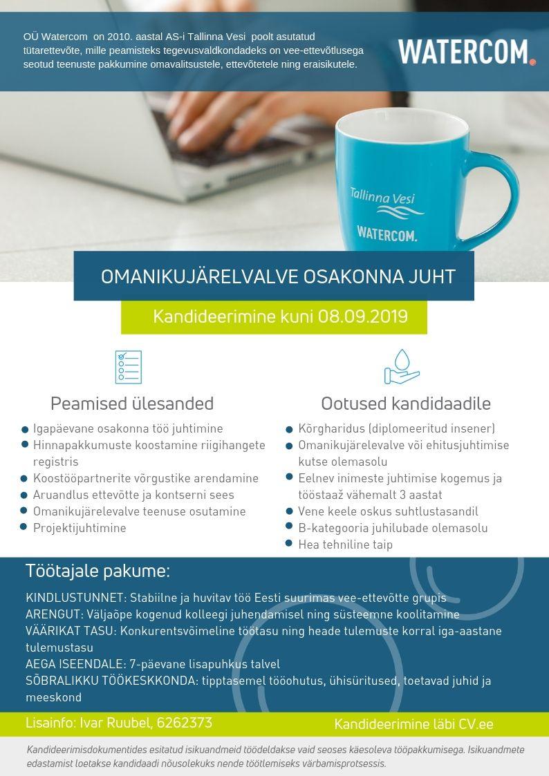 Töökuulutus: omanikujärelvalve osakonna juht. Kandideerimine kuni 08.09. Lisainfo: 6262373